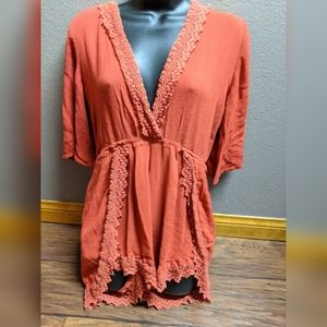 Boho burnt orange lace romper